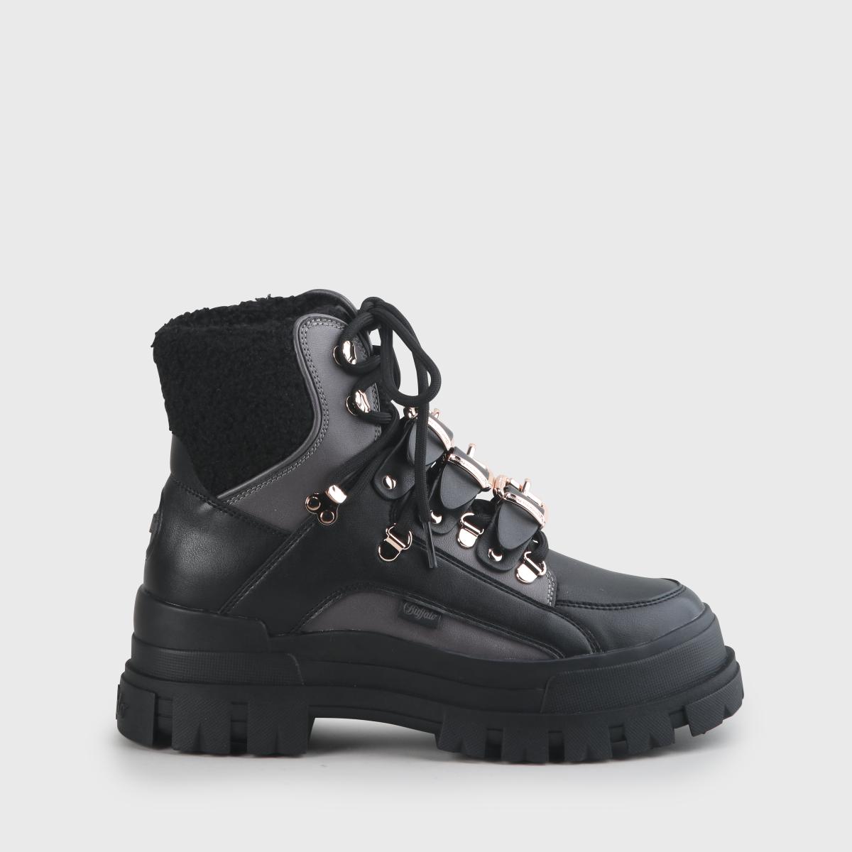 Buffalo MH X Buffalo Aspha Boot Black Dark Grey Damen Plateau Stiefel Boots